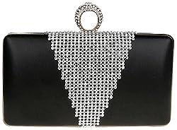 Iblue 7 Inch Women's Ring Clutch Purse Rhinestone Evening Cocktail Clutch Bag #0515 (black)