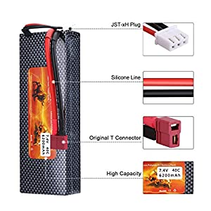 FLOUREON 2Packs 2S 7.4V 6200mAh 40C LiPo Battery Pack with T Plug for RC Evader BX Car RC Truck RC Truggy RC Airplane UAV Drone FPV (Hard Case)