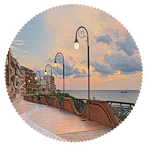iPrint Beautiful Round Tablecloth [ Italian Decor,Dawn at Ortona Abruzzo Italy Terrace View on The Adriatic Sea,Light Caramel and White ] Fabric Home Tablecloth Ideas
