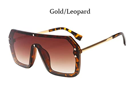 Cranky Orange Luxury Square Espejo Recubrimiento Gafas de Sol Hombre Mujer Moda Pantalones Vintage piloto Gafas Masculinas, Oro Leopaed