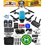 DJI Spark Fly More Combo EXTREME ACCESSORY BUNDLE With Landing Pad, 32GB Micro SD Card Plus Much More (Sky Blue)