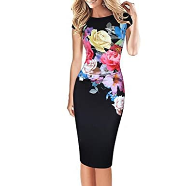 fde98427317 Romacci Bodycon Women Midi Dress Floral Print Short Sleeve Ruched Formal  Work Party Pencil Dress S-3XL