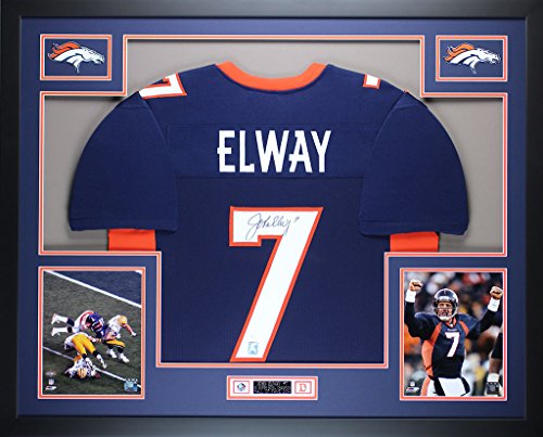 John Elway Autographed Blue Broncos Jersey - Beautifully Matted and Framed - Hand Signed By John Elway and Certified Authentic by JSA COA - Includes Certificate of - John Jersey Autographed Elway