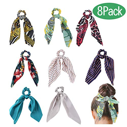 (Hair scarf scrunchies, WEST BAY 8Pcs Silk Scrunchies with Bow for Women Girls 2 In 1 Vintage Soft Satin Bowknot Hair Bands Elastic Ties Chiffon Solid Floral Striped Printed Scrunchies Ponytail Holder)