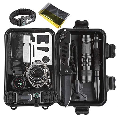 CO-Z Survival Gear Kit, Outdoor Survival Gear Tools Pack for Camping Hiking Climbing, Professional Teens Adventurers Everyday Carry Hunting Accessories with Tactical Pen, Fire Starter, SOS ()