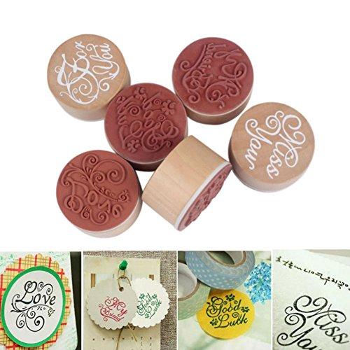 AKOAK 6 Piece Per Set Vintage Good Handwriting Wishes Sentiment Floral Flower Pattern Round Wooden Rubber Stamp for Scrapbooking Wedding Valentine's Day DIY Gift (Stamps Rubber Round)