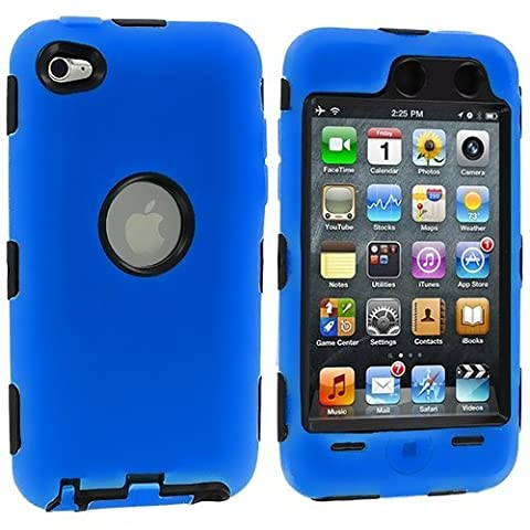 Deluxe Blue 3 part Hard Skin Case Cover compatible with Ipod Touch 4Th Gen (Ipod 4th Gen Case Blue)