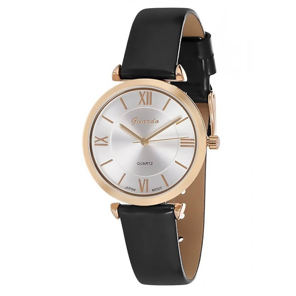 Amazon.com: Guardo Womens Liscio Dark Gray and Rose Gold-Tone Eco-Leather Fashion Watch (WGW0001BKR): Watches