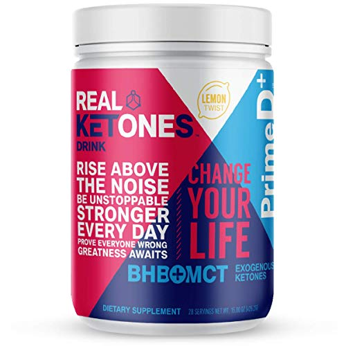 Real Ketones Prime D+ BHB (Beta-Hydroxybuterate) and MCT Exogenous Ketone Powder Supports Ketogenic Diet, Energy Boost, Mental Clarity (Lemon Twist) (28 Serving)