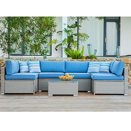 COSIEST 7-Piece Outdoor Furniture Set Warm Gray Wicker Sectional Sofa w Heritage Blue Cushions, Glass Coffee Table, 6 Stripe Woven Pillows for Garden, Pool, Backyard