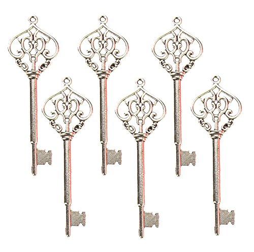 Makhry Mixed 30 Vintage Skeleton Keys Heart-shape Decorative Key Wedding Party Favor Home Decor (Silver) -