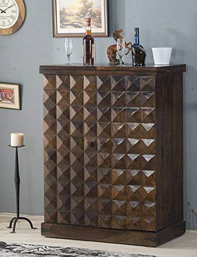 B.L Wood Furniture Sheesham Wood Stylish Bar Cabinet with Wine Glass Storage for Living Room | Walnut Finish