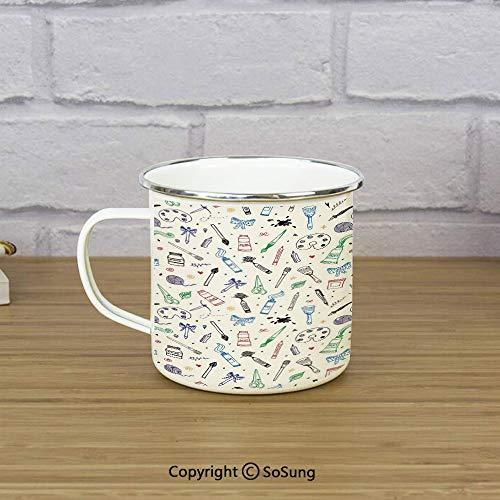 Abstract Enamel Coffee Mug,Artistic Painting Motif Brush Color Palette Ribbon Dye Scissor Craftsmanhip Theme Decorative,11 oz Practical Cup for Kitchen, Campfire, Home, TravelMulticolor