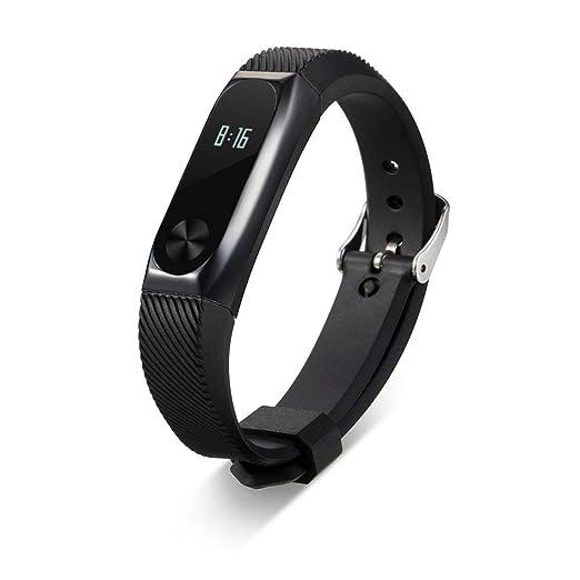 Correa de reloj inteligente pulsera de reemplazo correa de la correa funda de metal ❤️LANSKIRT para Xiaomi Mi Band 2 (Negro): Amazon.es: Relojes
