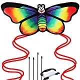 Rainbow Butterfly Kite Girls - Beach Outdoor Fun Premier Kite, Easy to Assemble Fly, Great Beginners Pro