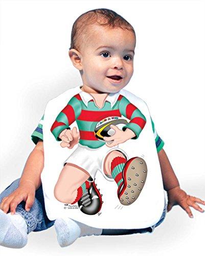 Just Add A Kid Baby Boy's Rugby 428 Baby Bib 0-6 Months White - Baby Rugby