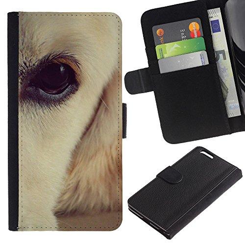Be Good Phone Accessory // Flip Étui de Protection Cuir Portefeuille Housse Fente Carte Coque pour Apple Iphone 6 PLUS 5.5 // Labrador Retriever White Brown Eye Dog