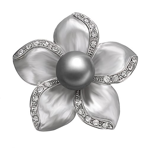 Mabe Clasp - Yoursfs Grey Floral Brooch Pin Grey Painting Mabe Pearl Lacing Crystal Rhinestones Corsage Brooch Women