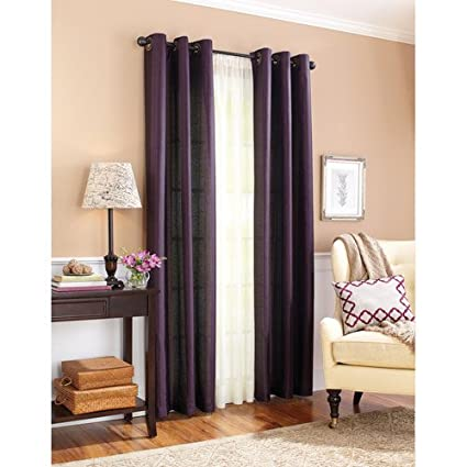 TWO Panels BLACKOUT PLUM PURPLE EGGPLANT Grommet FAUX SILK Window Curtain Lined ENERGY SAVING 38 WIDE