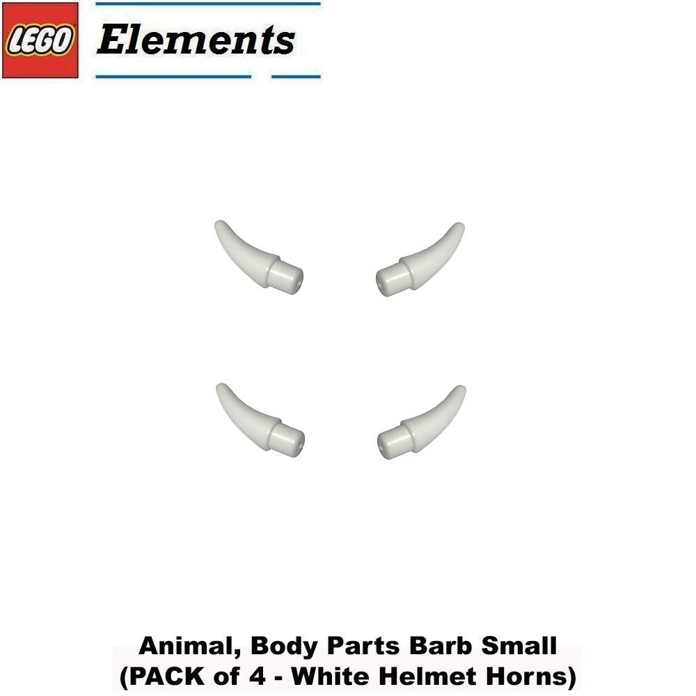 Lego Parts: Animal, Body Parts Barb Small (PACK of 4 - White Helmet Horns)
