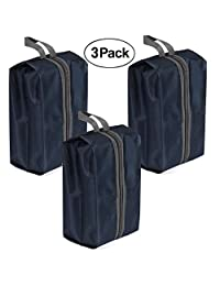 Shoes Bag Organizer,YOBOKO Large Capacity Waterproof Shoes Storage Bag for Trvealling/Camping Zipper Closure (3 pack, Black)