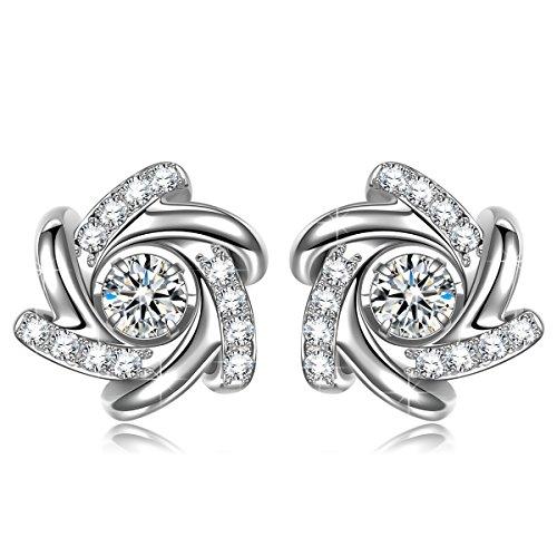 Fine Jewelry Birthday Gift for HerEarrings for Women Stud Earrings 925 sterling silver Earrings Fine Jewelry Flower Earrings Gifts for Women Birthday Gifts for Her (Fine Silver Flower)