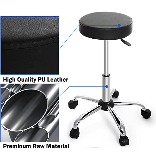 Kemanner 360-Degree Rolling Stool Adjustable Hydraulic Swivel Bar Stool with Wheels for Massage/Medical/Salon/Office/Tattoo by Kemanner (Image #5)