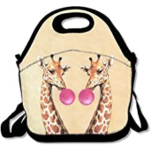 Reusable Insulated Lunch Bag Tote Soft Cooler Carry Bag For Women,Girls Giraffe Blowing Bubbles
