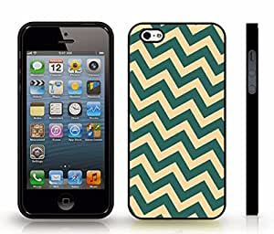 iStar Cases? iPhone 4 Case with Chevron Pattern Peach/ Light Jade Stripe , Snap-on Cover, Hard Carrying Case (Black)