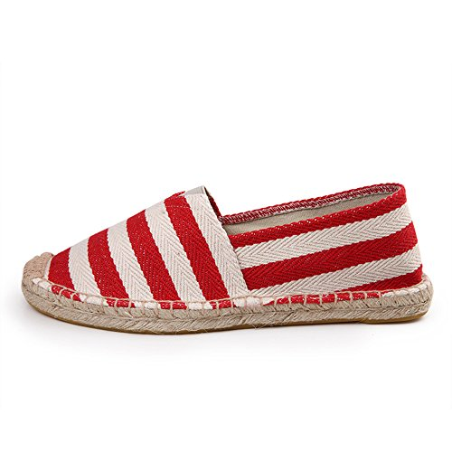 Xi Wei Hu Womens Womens A Righe Slip-on In Canvas Espadrillas Rosso