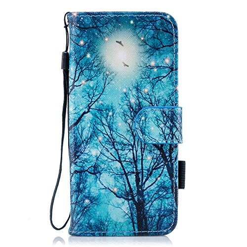 Galaxy S9 - Case, For [S9], MerKuyom [Wrist Strap] [Kickstand] Premium PU Leather Wallet Pouch [Card Holder] Protective Flip Cover Case For Samsung Galaxy S9, W/Stylus (Night Forest Pattern)