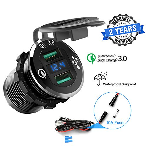 Opluz Dual QC3.0 USB Car Charger, Quickly Charge 4.8A USB Car Socket x2&Waterproof Power Outlet with LED Voltmeter for 12V/24V Car, Boat, Marine, RV, Motorcycle Mobile Build-in 10A Fuse Car Kit-Black