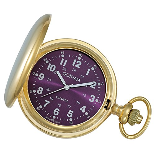 Tone Gold Watch Quartz Pocket - Gotham Men's Gold-Tone Polished Finish Covered Quartz Pocket Watch # GWC15042GP