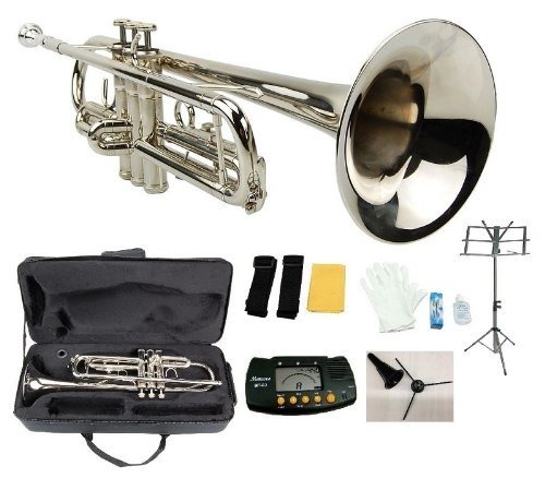 Merano B Flat Silver Trumpet with Case+Mouth Piece+Valve Oil+Metro Tuner+Black Music Stand+Trumpet Stand by Merano