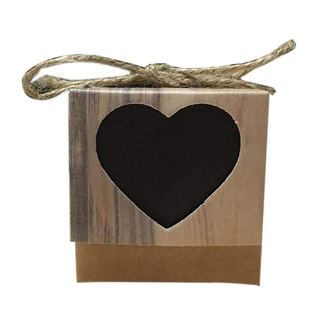Kraft Favor Gift Boxes with Hemp Rope, Rustic Kraft Paper Mini Beautiful Square Hollow Heart Candy Treat Gift Wrap Box for Party Wedding Favor Baby Shower Favor -2 x 2 x 2inch (2-Black)