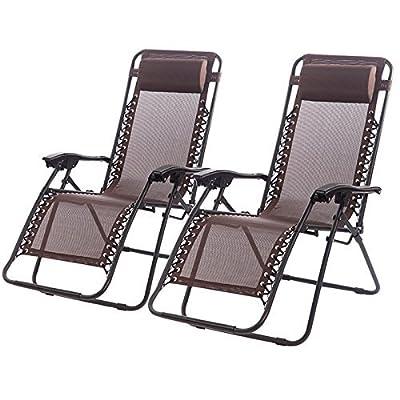 Set of 2 Zero Gravity Chairs Lounge Patio Chairs Outdoor Yard Beach