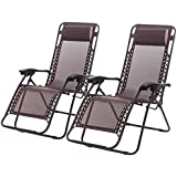 Set of 2 Zero Gravity Chairs Lounge Patio Chairs Outdoor Yard Beach (Brown)