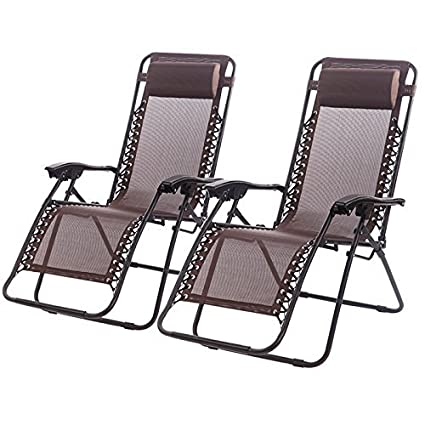 Superieur Set Of 2 Zero Gravity Chairs Lounge Patio Chairs Outdoor Yard Beach (Brown)