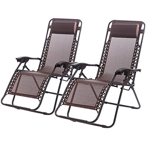 Set of 2 Zero Gravity Chairs Lounge Patio Chairs Outdoor Yard Beach (Brown) (Gravity Recliner Outdoor Chair)