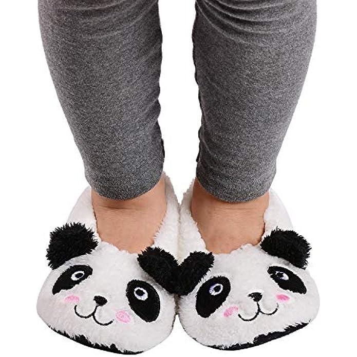 Panda Bros Kid's Animal Slipper Socks, Cartoon Cozy Fleece Indoor Slipper, Fluzzy Warm bedroom Shoes