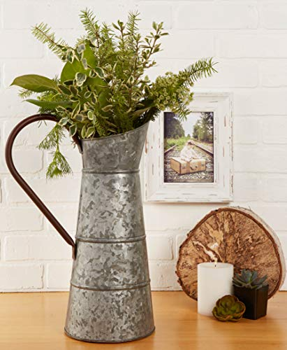 """DII Z02277 Galvanized Metal Farmhouse Rustic Flower Vase Watering Can, 10.25 Wide (Includes Handle) x 16"""" Tall, Pitcher"""