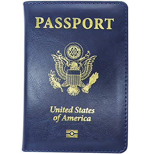 - Watruer Passport Cover Holder Wallet RFID Blocking Leather Card Case Travel Document Organizer for men women - Blue