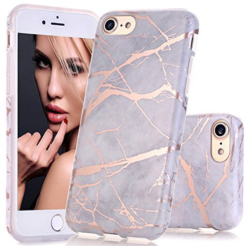 BAISRKE Shiny Rose Gold Gray Marble Design Clear Bumper Matte TPU Soft Rubber Silicone Cover Phone Case Compatible with iPhone 7 (2016) / iPhone 8 (2017) [4.7 inch]