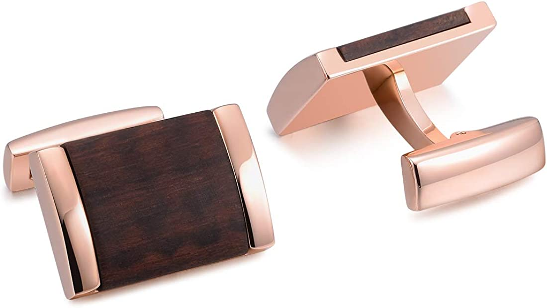 THREE KEYS JEWELRY Square Stainless Steel Curved Mens Cufflinks for Men Gold Plated with Wood Inlay Cufflink for Wedding Business Shirt