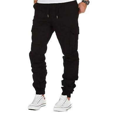 BMEIG Hombres Chino Cargo Pantalón Slim Fit Algodón Pantalones de ...