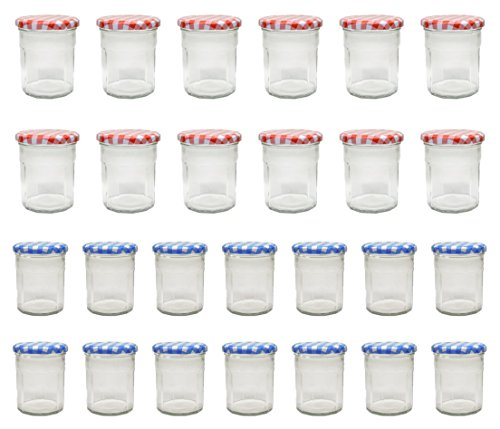- Klean Shop Jam Jars With Lids - Red/Blue Lid Jam Jar Set - Fruit Mason Jar - Glass Jam Canning Jars - DIY 8oz (250ml), 24 Pack Jars- Perfect for Jam Storing, Pickles and Many Other