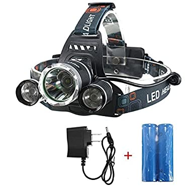 OUTERDO 5000Lumen Led Headlamp 4 Mode Head Lamp Headlight 3 Chips XML T6+2R5 Waterproof Headlamps+2 Pack of 18650 Rechargeable Battery+AC Charger For Outdoor Camping Biking Hunting Fishing