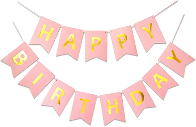 Reusable Birthday Party Supplies Perfect for Kids Girls and Women WESTGO Birthday Decorations Pink and Golden Premium Quality Happy Birthday Banners with Golden Sparkle Shimmering Letters