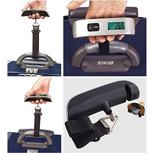 Godagoda Balance /Électronique Portative Sangle Noire P/èse 50kg//10g de Bagages avec R/étro-/Éclairage 16x3cm Balance Voyage