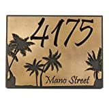 Palm Tree Custom Plaque 12x9 - Recessed Brass Coated